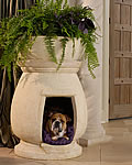 potted plant romanesque dog house